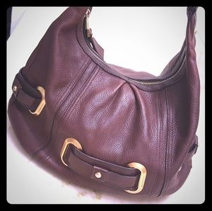💯Leather B Makowsky Large Hobo Handbag